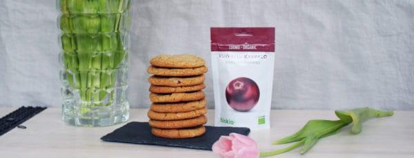 Karpalo-valkosuklaa-cookies Biokia