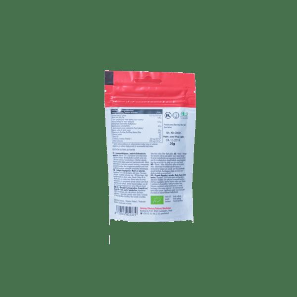 Biokia luomupuolukkajauhe takapuoli